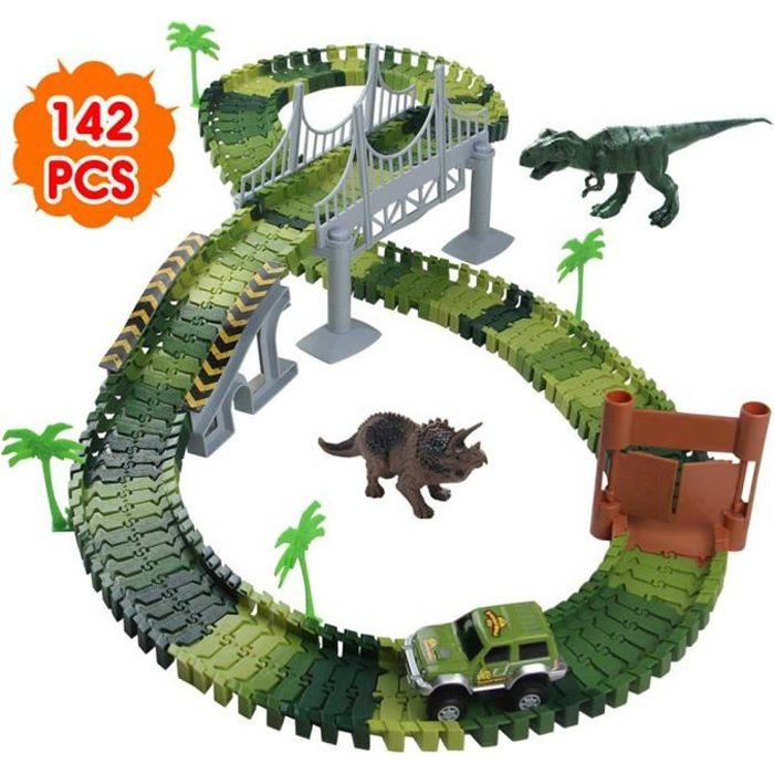 Circuit Dinosaure Voiture Flexible Circuit de Voiture Jeu Educatif Creation Enfant pour Cadeau Enfant Garcon Fille 3 4 5 Ans