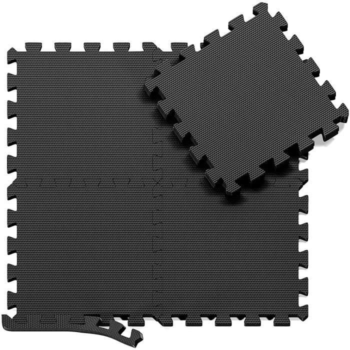 Tapis de Sol de Gym Sport avec 24 Dalles de Protection en Mousse 60 cm x 60 cm noir