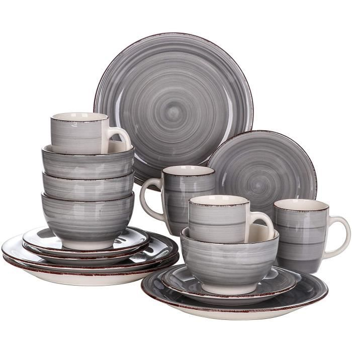 vancasso, Série Bella, Service de Table en Céramique, Assiettes 16 Pièces 4 Personnes, Faïence Style Vintage Rustique- Gris