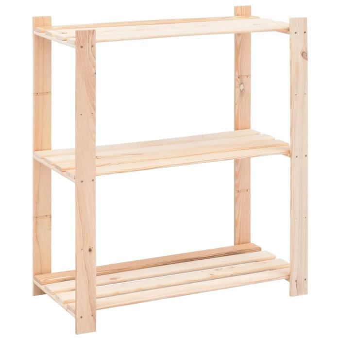 étagère de stockage 3 niveaux 80x38x90 cm Pin solide 150 kg