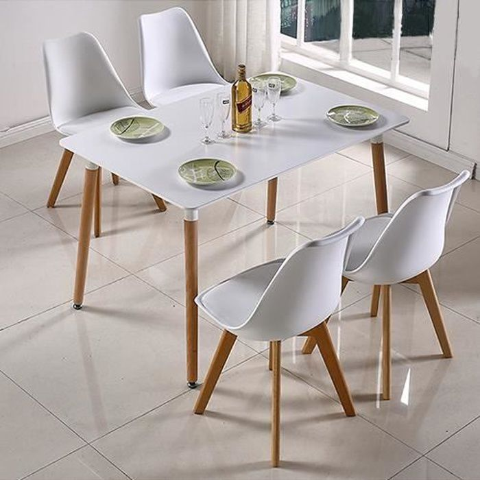 TABLE À MANGER SCANDINAVE DESIGN pour 4-6 Personnes EN BOIS LAQUÉE BLANC 110x60x75cm