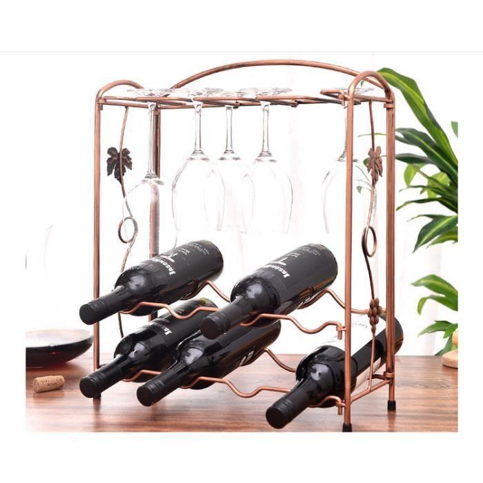 Etagère à bouteilles démontable métal Cave Support Casier à 8 bouteille avec Etagère porte verre à pied Range porte Rack bouteille