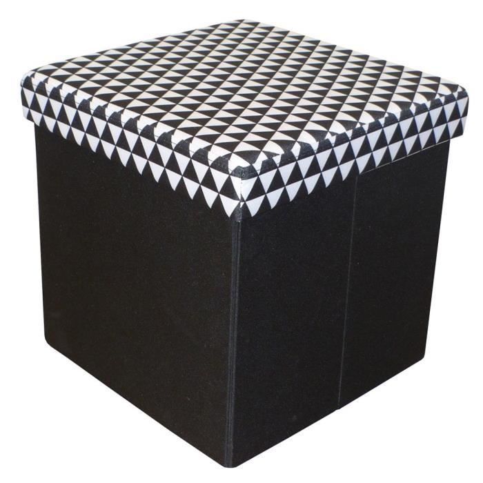 COTTON WOOD Pouf Coffre pliable Oxford - 35 x 35 x 35 cm - Imprimé Noir