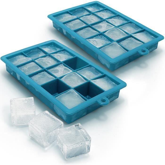 igadgitz Home 2x Bac à Glaçons en Silicone Alimentaire 15 Ice Cubes Pouding Gelée Chocolat