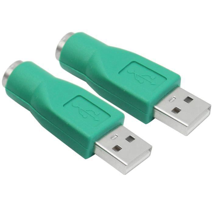 2x Ps2 Usb Adaptateur Convertisseur Connector Pour Ordinateur Clavier Souris