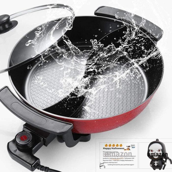 WYING 6L Grande capacité intérieure Hot Pot de Friction, Barbecue électrique, cuisinière électrique multifonctionnelle antiadhésive