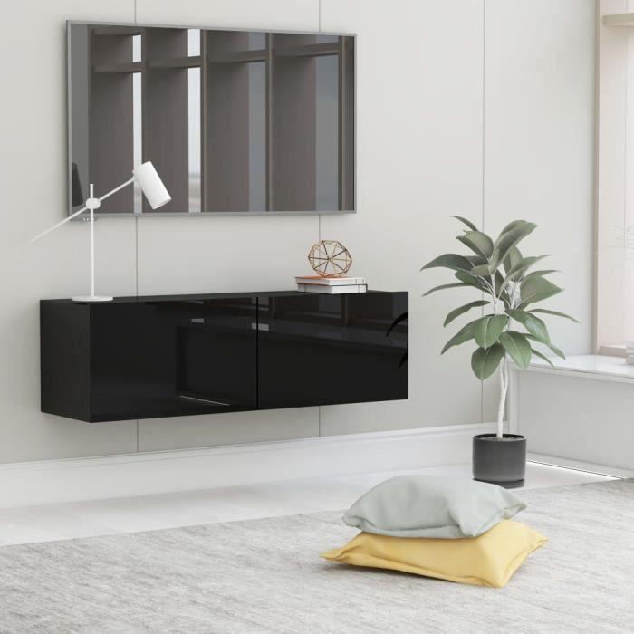 Meuble TV Mural Design Tendance Contemporain - Avec 2 Portes Abattantes - Noir brillant Aggloméré - 100x30x30 cm