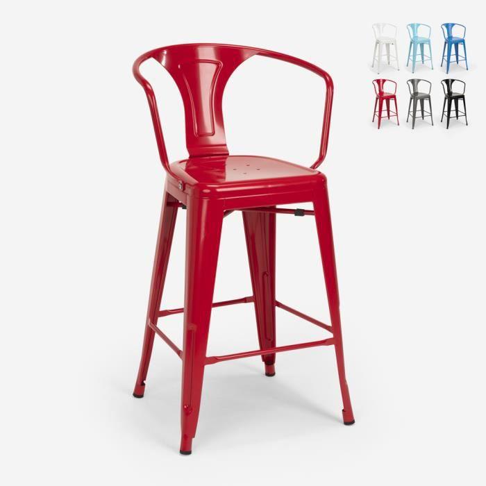 Tabouret avec dossier en métal design industriel pour bar et cuisine style Tolix Steel Back, Couleur: Rouge