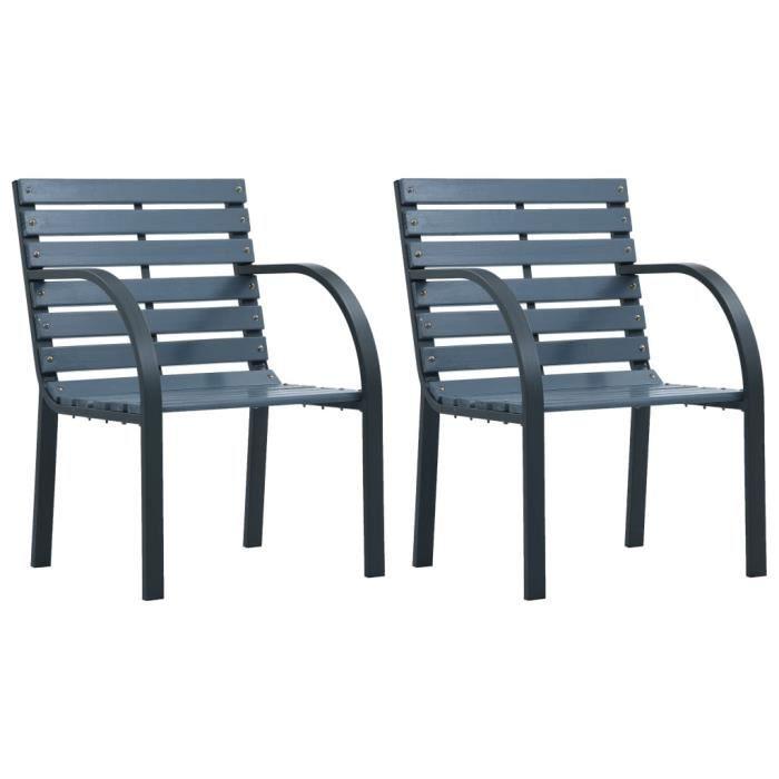 Lot de 2 Chaises de jardin Fauteuil de Jardin - Chaise Fauteuil Gris Bois Nouveau *642187