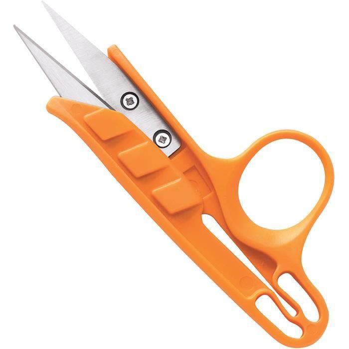 Fiskars Ciseaux coupe-fil, Longueur totale: 12 cm, Pour droitiers et gauchers, Lames en acier inoxydable/Poignées en plastique, Oran