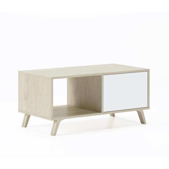 Table basse avec portes, salle à manger, modèle WIND, structure couleur Puccini, couleur portes blanches, mesure 92x50x45cm de haut.
