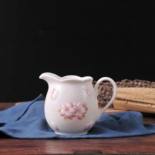 Service À Thé - Café,Pot à lait en céramique blanc rose, fleurs de cerisier, tasse à lait, bonbons, accessoires à - Type white