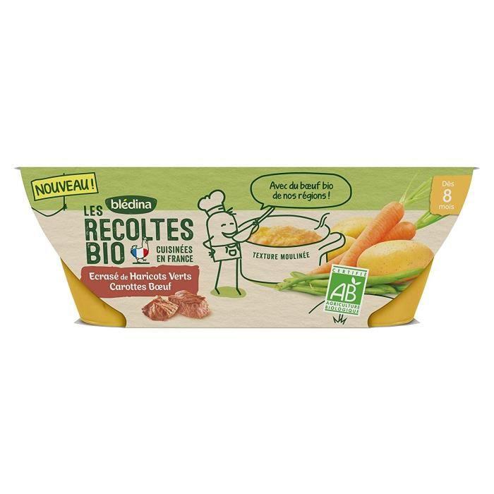 BLEDINA - Récolte BIO écrasé haricots verts carottes bœuf 2x200g