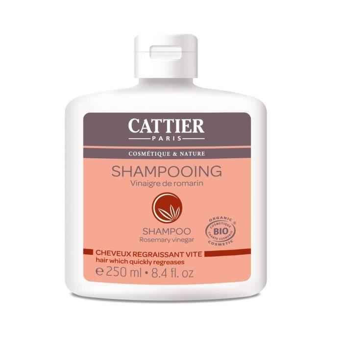 CATTIER Shampooing Vinaigre de Romarin Bio Cheveux Regraissant Vite 250 ml