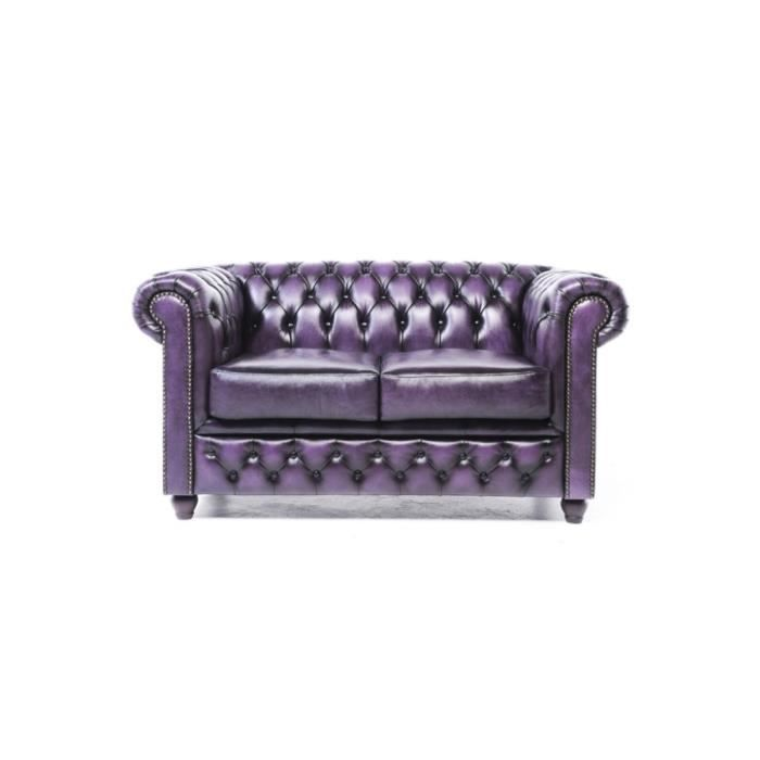Chesterfield - Canapé Chesterfield Cuir 2 Places Original Brighton - Violet