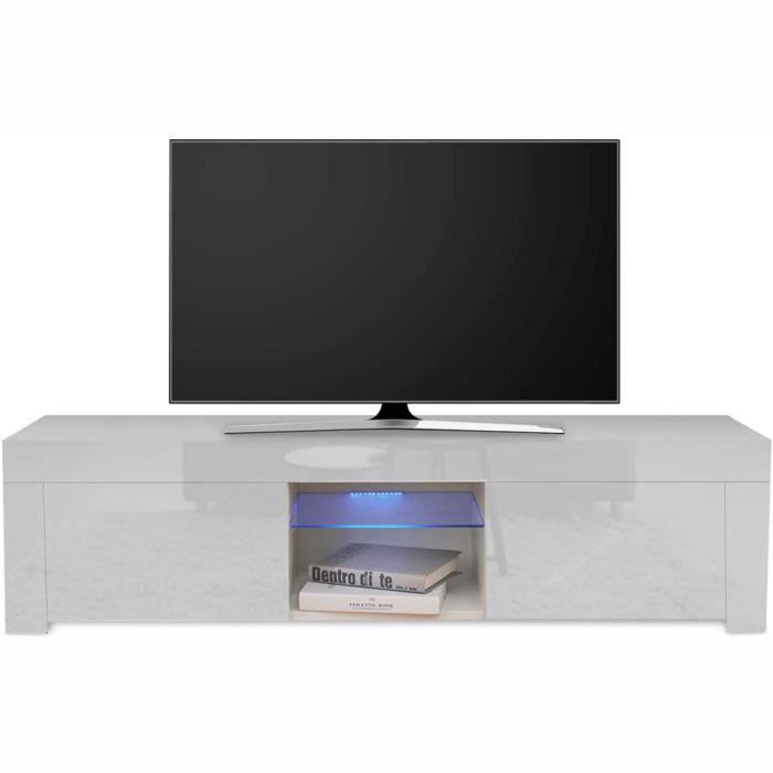 Dripex Meuble TV LED Brillant Blanc Contemporain -130 x 35 x 35cm