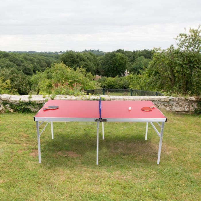 Table de ping-pong de tennis portative extérieure accessoire de costumes de jeu d'équipement - rouge HB035