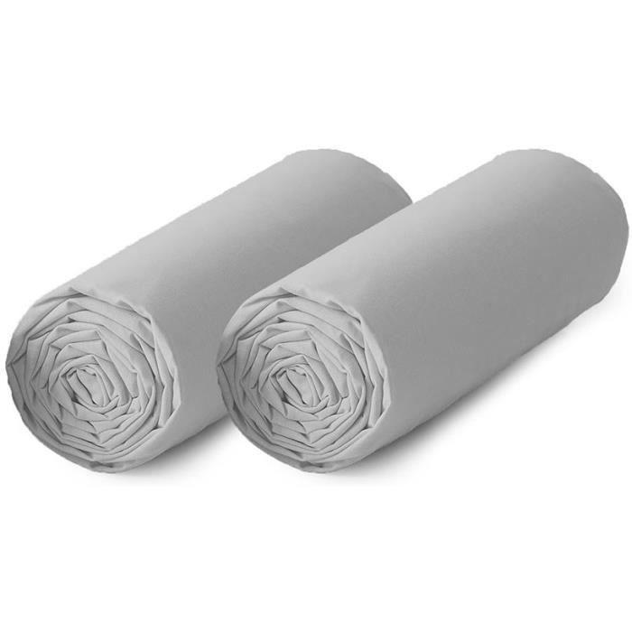 TODAY Lot de 2 draps housse 100% coton - 90x190 cm - Gris clair