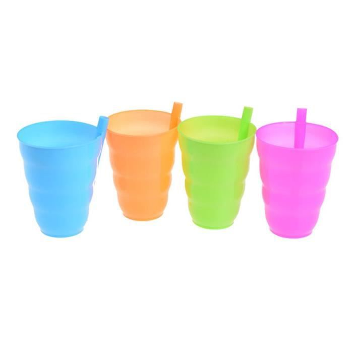 4pcs couleur bonbon ventouse en plastique tasse de paille pour enfants jus tasse de lait mélange couleur