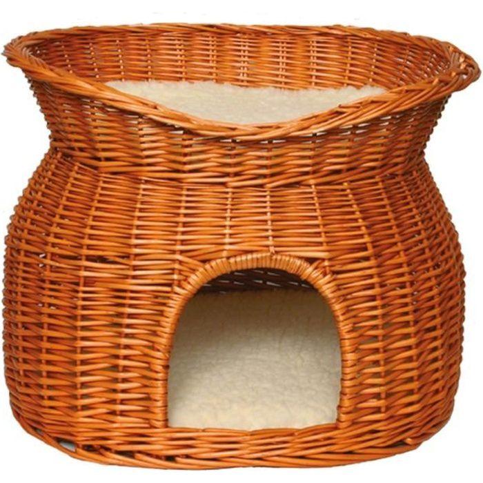 TRIXIE Panier osier avec lit au dessus et 2 coussins 54 × 43 × 37 cm pour chat