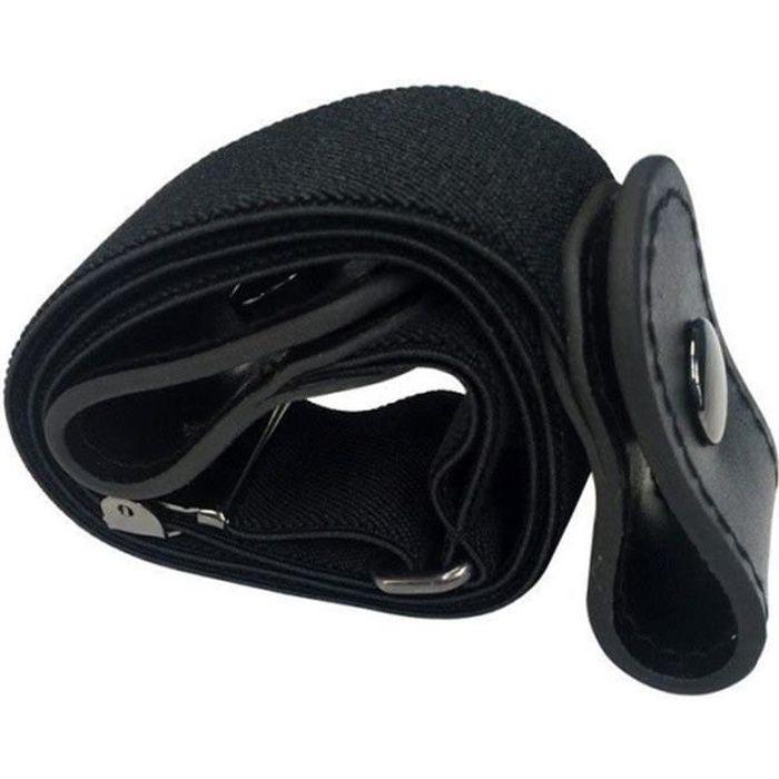 Ceinture élastique sans boucle, sans boucle, ceinture élastique pour robes pantalons jeans --- noir 80-100cm