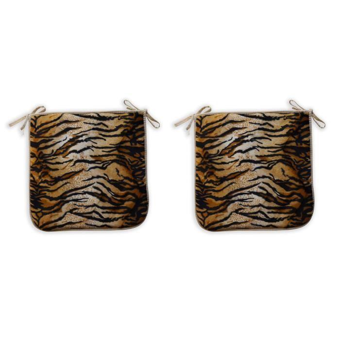 O'CBO Lot de 2 Galettes de chaise fourrure Tigre - 39 x 39 cm - Noir, crème et orange