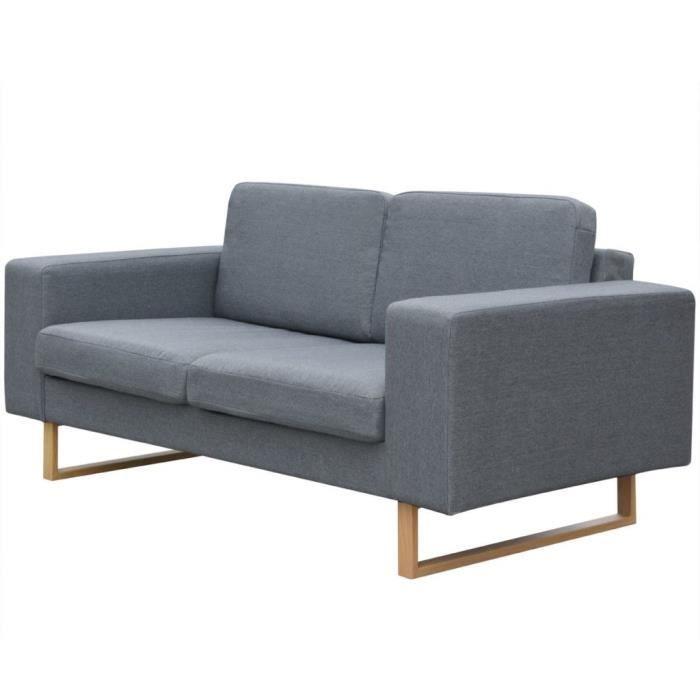 Canapé à 2 places Tissu Gris clair