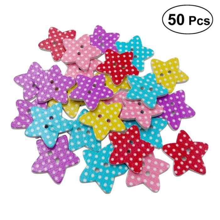 25 MM 50 pièces boutons couleur aléatoire Pentagram grille Point décoratif fond blanc Scrapbooking attaches pour la couture