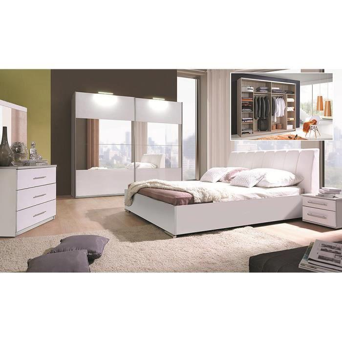 lit design en simili cuir blanc 180 x 200 cm avec option coffre et 2 chevets VERONA. Meuble design pour chambre à coucher Blanc