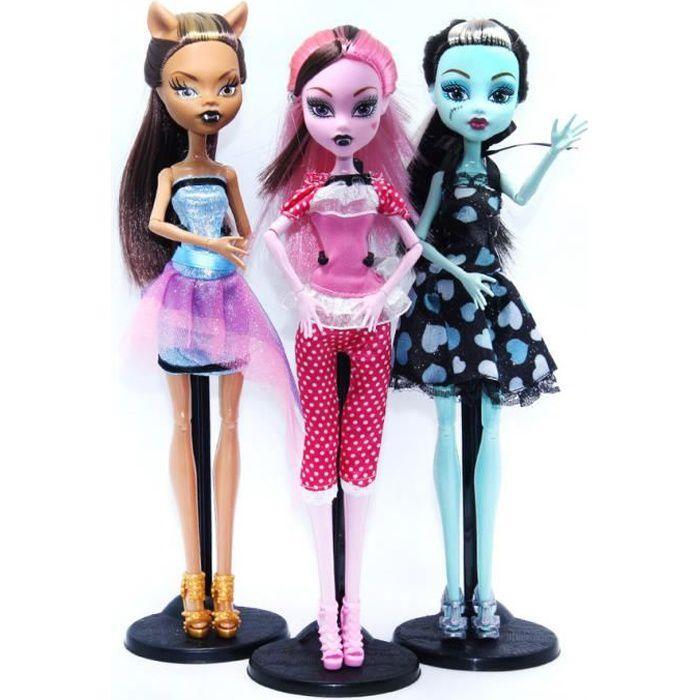 3PCS Créative Monster High poupée modèle Action Figure Enfants Cadeaux pour Enfant NOEL 28CM