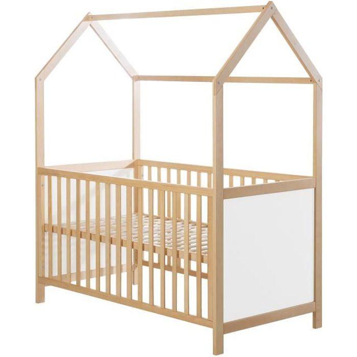 ROBA Lit cabane 70x140 cm, certifié FSC, lit bébé évolutif, bois naturel, convertible et réglable en 3 hauteurs
