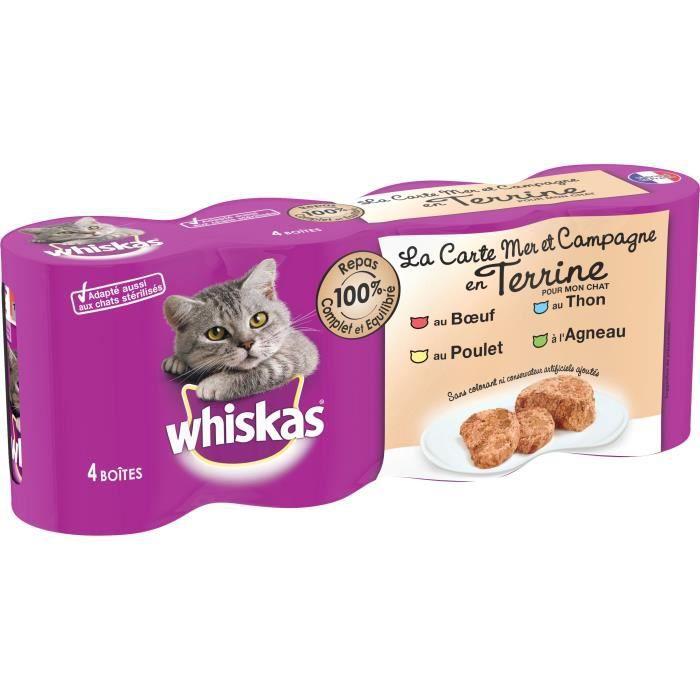 WHISKAS - Terrine mer/campagne - Pour chat - 4 boites de 400g