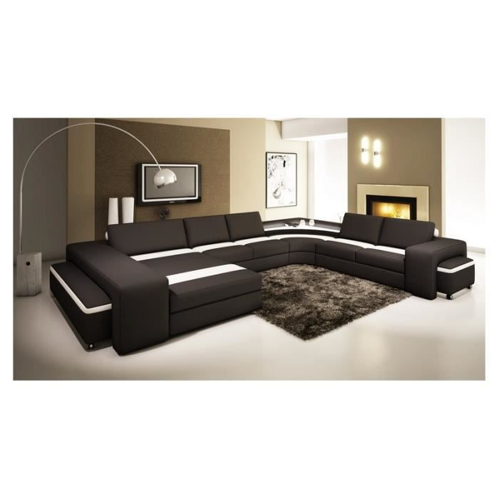 canap panoramique cuir noir et blanc avec lumi re achat vente canap sofa divan cdiscount. Black Bedroom Furniture Sets. Home Design Ideas