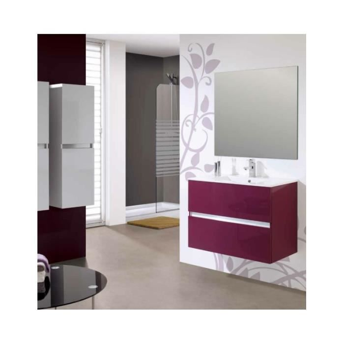 meuble suspendu salle de bain ikaro 80 gris 79 cm r sine de synth se brillante 46 cm achat. Black Bedroom Furniture Sets. Home Design Ideas