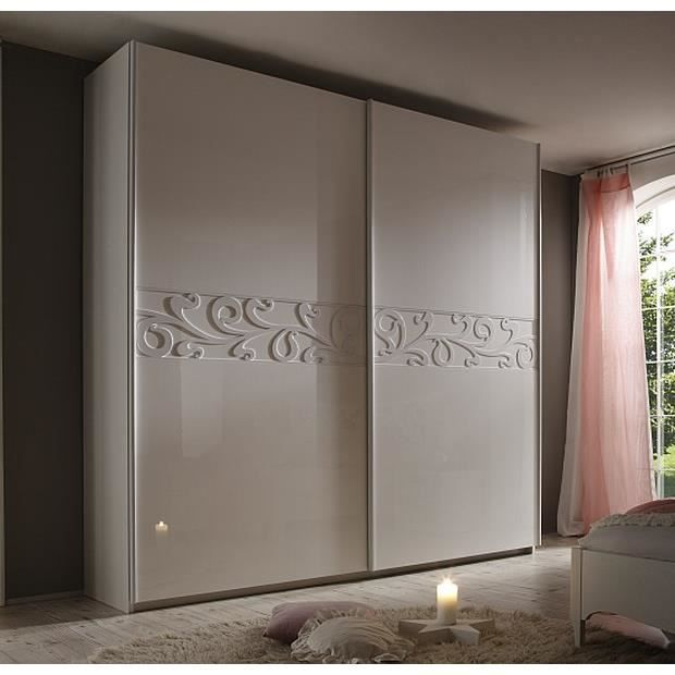 armoire moderne porte coulissante laqu e blanche ambroise 240cm meuble house achat vente. Black Bedroom Furniture Sets. Home Design Ideas