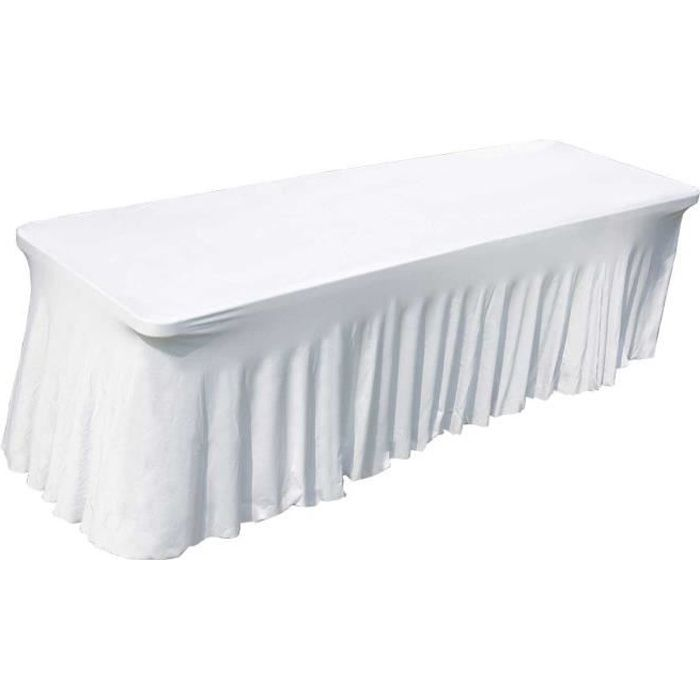 nappe housse lastique pour table 244cm blanche achat vente housse meuble jardin nappe. Black Bedroom Furniture Sets. Home Design Ideas