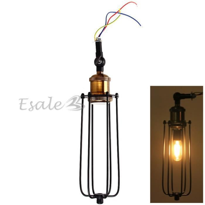 E27 abat jour lampe murale applique en fer noir d co for Applique murale fer forge noir
