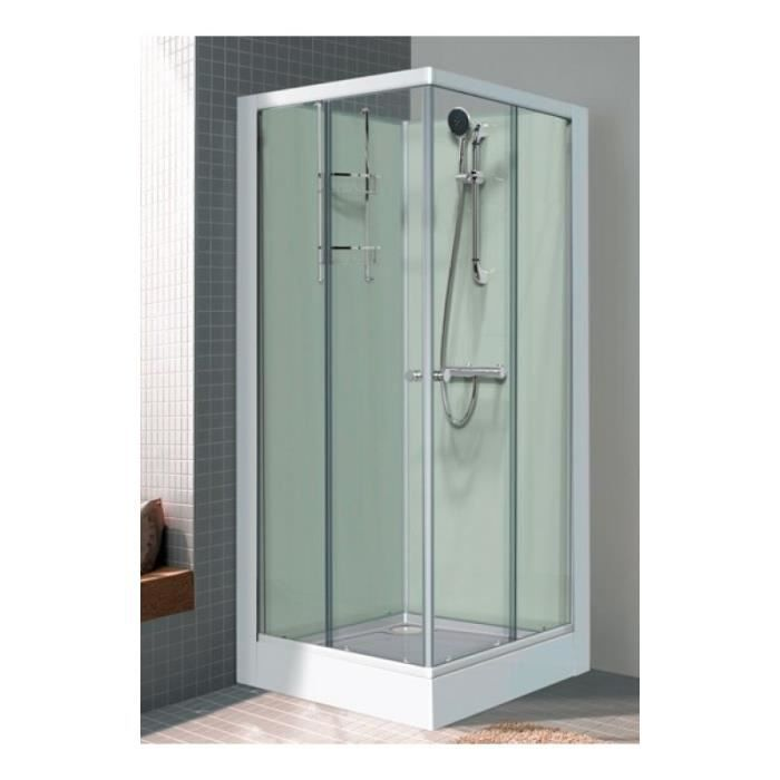 cabine de douche carree 800x800 mm portes coulissantes mitigeur thermostatique gamme iziglass. Black Bedroom Furniture Sets. Home Design Ideas