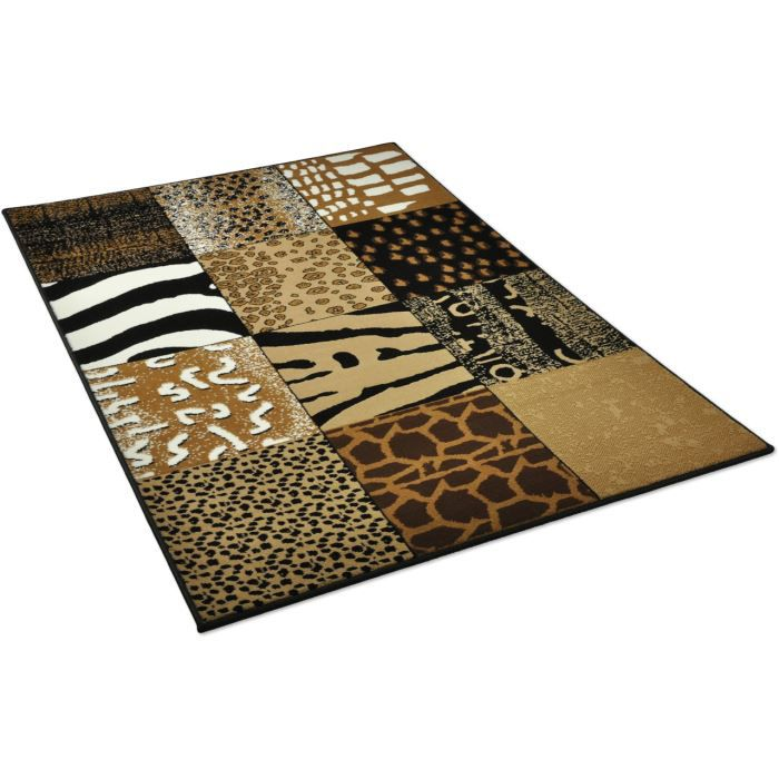 tapis salon patchwork peau de bete marron unive achat vente tapis cdiscount. Black Bedroom Furniture Sets. Home Design Ideas