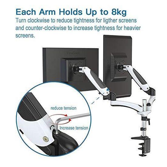 Support Ecran Bras ergonomique à double moniteurs Perlegear- Inclinable /  Pivotante à Hauteur Ajustable au Gaz à Montage sur Ecran C