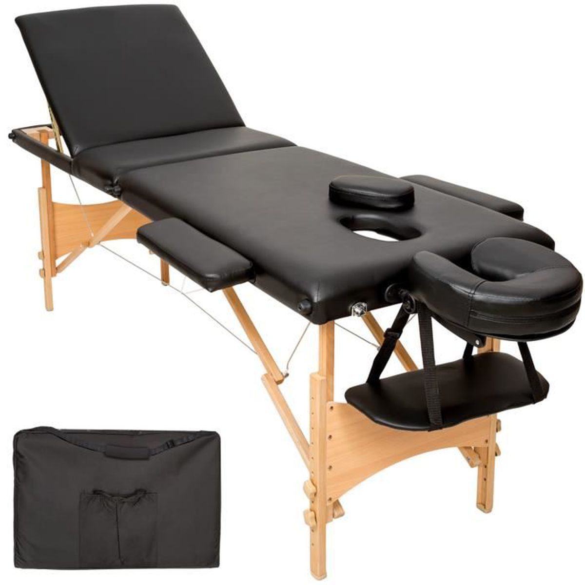 Table de massage TECTAKE Table de Massage Pliante en Bois Portable