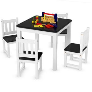 TABLE ET CHAISE Ensemble Table et 4 Chaises Enfant en Bois pour Tr