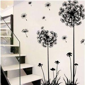 STICKERS Noir Pissenlit Fleur Vinyle Stickers Muraux Pour E