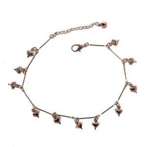 Perle COOLSTEELANDBEYOND Deux Rangs Femme Balle Cha/îne Bracelets de Cheville avec Ouvert Coeur Charms Grelot R/églable