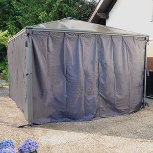 TONNELLE - BARNUM Set de 4 rideaux pour tonnelles grise 3 x 3 m et 3