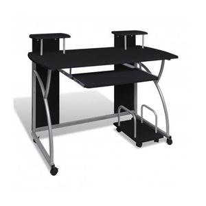 BUREAU  Table de bureau noire pour ordinateur avec roulett