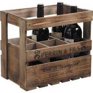 CAISSON DE BUREAU  Caisse 6 bouteilles en bois vieilli - Dim : 33 x 2