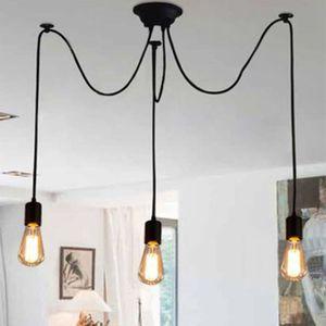 Hoopzi /• Hang 1 /• Suspension Luminaire Design avec Cache Douille Acier /• 3 M/ètres /• Format E27 /• 5 Coloris /• Fil Electrique en Tissu /• Noir