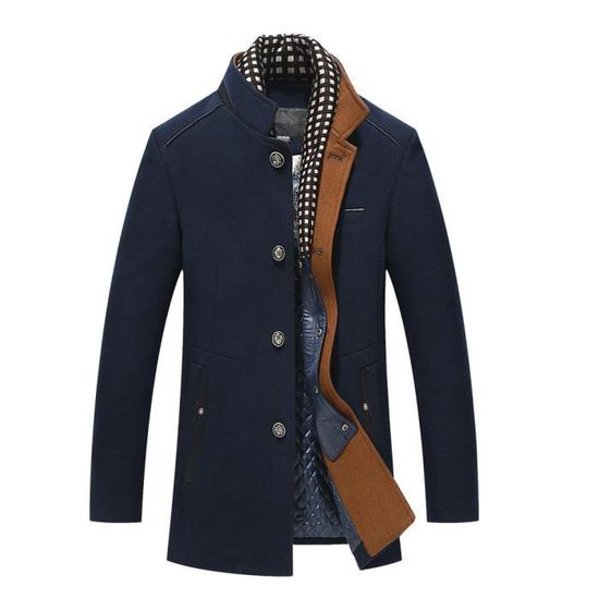 Laine Mode Thicken Marine Hommes Long Slim D'affaires Manteau À Casual Pardessus Jacket Trench SdqnwF8Tq