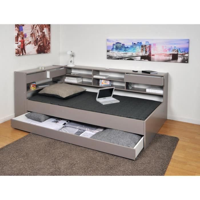 roller lit tag res enfant 90x190 finition gris achat vente lit complet roller lit. Black Bedroom Furniture Sets. Home Design Ideas